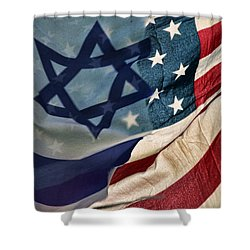 Israeli American Flags Shower Curtain