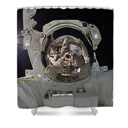 Iss Expedition 32 Spacewalk Shower Curtain by Nasa Jsc