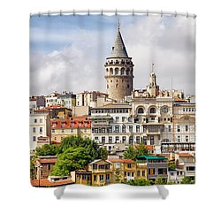 Istanbul Cityscape And Galata Tower Shower Curtain by Artur Bogacki