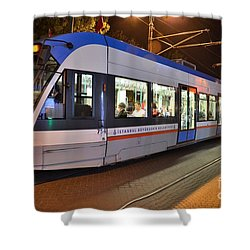Istanbul Tram At Night Shower Curtain by Imran Ahmed