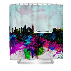 Istanbul Watercolor Skyline Shower Curtain by Naxart Studio