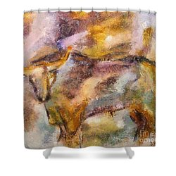 Shower Curtain featuring the painting Istrian Bull -  Boshkarin by Dragica  Micki Fortuna