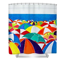 Shower Curtain featuring the painting Italian Beach by Thomas Gronowski