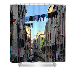 Italian Clotheslines Shower Curtain by Natalie Ortiz