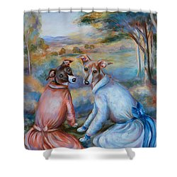 Italian Greyhounds Renoir Style Shower Curtain