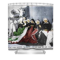 Italian Nuns Shower Curtain by Tony Rubino