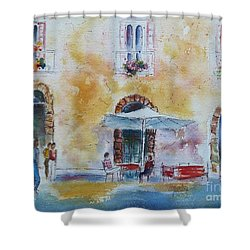 Italian Piazza Shower Curtain by Carolyn Jarvis
