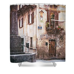 Shower Curtain featuring the photograph Italian Square In  Snow by Silvia Ganora