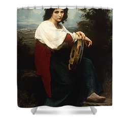 Italian Woman With A Tambourine Shower Curtain by William Adolphe Bouguereau