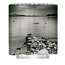 Italy Lake Maggiore Moody View Shower Curtain by Silvia Ganora
