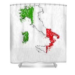 Italy Painted Flag Map Shower Curtain