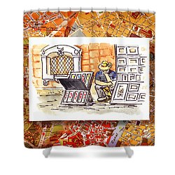 Italy Sketches Florence Art Fair At San Lorenzo Cathedral Shower Curtain by Irina Sztukowski