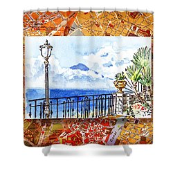 Italy Sketches Sorrento View On Volcano Vesuvius  Shower Curtain
