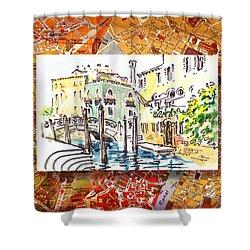Italy Sketches Venice Canale Shower Curtain by Irina Sztukowski