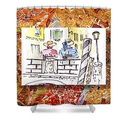 Italy Sketches Venice Two Gondoliers Shower Curtain by Irina Sztukowski