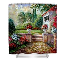 Italyan Villa With Garden  Shower Curtain by Regina Femrite
