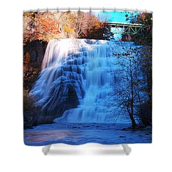 Ithaca Water Falls New York Panoramic Photography Shower Curtain by Paul Ge