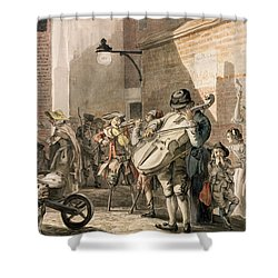 Itinerant Musicians Playing In A Poor Shower Curtain by Paul Sandby