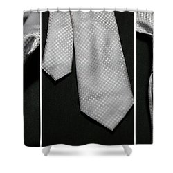 Shower Curtain featuring the photograph It's A Tie - Triptych by Trish Mistric