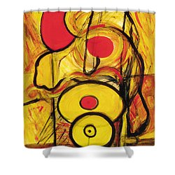 Shower Curtain featuring the painting It's All Relative by Stephen Lucas