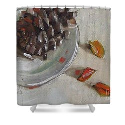 Pine Cone Still Life On A Plate Shower Curtain