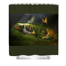 Shower Curtain featuring the painting Peaceful by Loxi Sibley