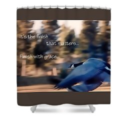 It's The Finish 21169 Shower Curtain by Jerry Sodorff