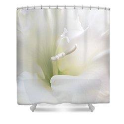 Ivory Gladiola Flower Shower Curtain