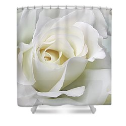 Ivory Rose Flower In The Clouds Shower Curtain by Jennie Marie Schell