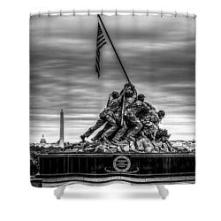 Iwo Jima Monument Black And White Shower Curtain by David Morefield
