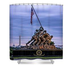 Iwo Jima Monument Shower Curtain by David Morefield