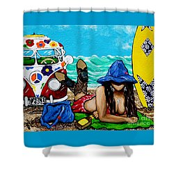 J. C. Beaching It In 1961 Shower Curtain by Jackie Carpenter