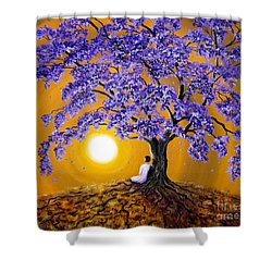 Jacaranda Sunset Meditation Shower Curtain by Laura Iverson