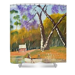 Shower Curtain featuring the painting Jacaranda Tree by Pamela  Meredith
