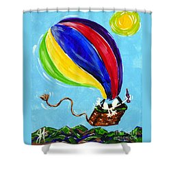 Shower Curtain featuring the painting Jack And Charlie Fly Away by Jackie Carpenter
