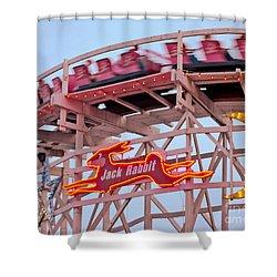 Jack Rabbit Coaster Kennywood Park Shower Curtain by Jim Zahniser