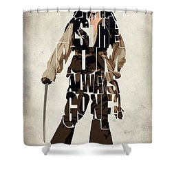 Jack Sparrow Inspired Pirates Of The Caribbean Typographic Poster Shower Curtain