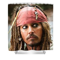 Jack Sparrow Shower Curtain by Paul Tagliamonte