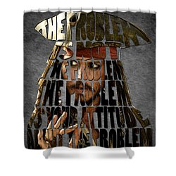 Jack Sparrow Quote Portrait Typography Artwork Shower Curtain by Georgeta Blanaru