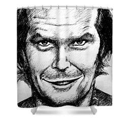 Shower Curtain featuring the drawing Jack Nicholson #2 by Salman Ravish