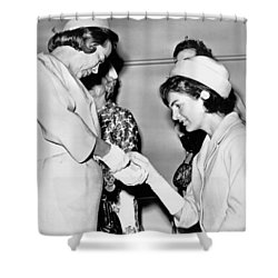 Jackie Inspects Gold Bracelet Shower Curtain by Underwood Archives
