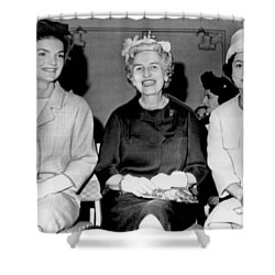 Jackie Kennedy At Luncheon Shower Curtain by Underwood Archives