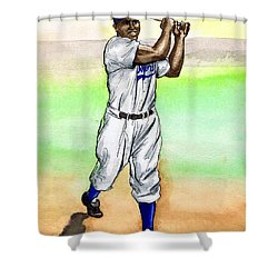 Jackie Robinson Shower Curtain by Mel Thompson