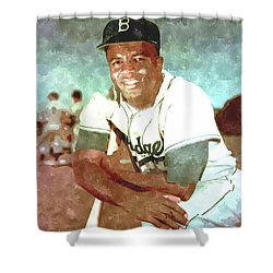 Jackie Robinson Shower Curtain by Gianfranco Weiss