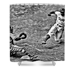 Jackie Robinson Stealing Home Shower Curtain