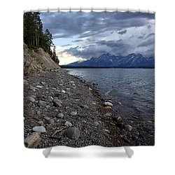 Jackson Lake Shore With Grand Tetons Shower Curtain by Belinda Greb