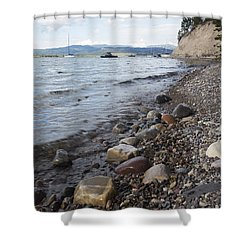 Jackson Lake With Boats Shower Curtain by Belinda Greb