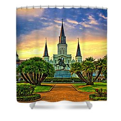 Jackson Square Evening - Paint Shower Curtain
