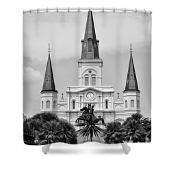 Jackson Square In Black And White Shower Curtain by Bill Cannon