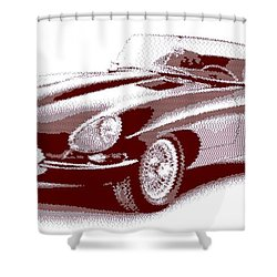 Jaguar E-type - Cross Hatching Shower Curtain
